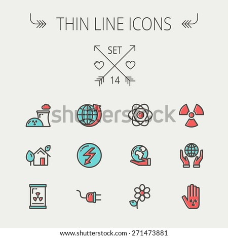 Ecology thin line icon set for web and mobile. Set includes-Palm, global, flower, propeller, atom, plug, arrow icons. Modern minimalistic flat design. Vector icon with dark grey outline and offset - stock vector