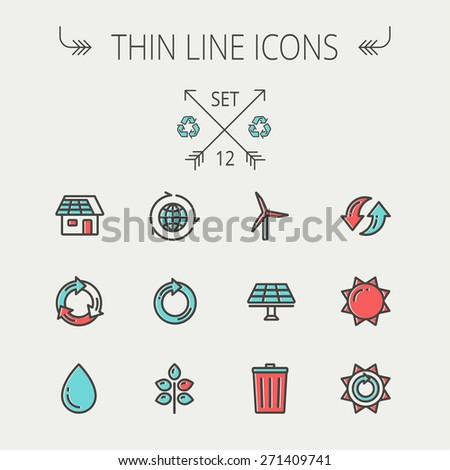 Ecology thin line icon set for web and mobile. Set includes- recycle, sun, water drop, garbage bin, windmill, leaves, global icons. Modern minimalistic flat design. Vector icon with dark grey outline - stock vector