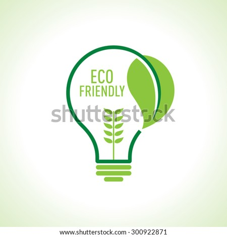 Ecology Think green bulb vector illustration.