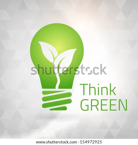 Ecology Think green bulb vector illustration. isolated from background. layered. - stock vector