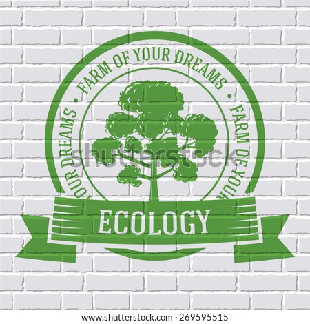 ecology tree colored logo or template on a white brick wall. Vector illustration of icon for your product or design, web and mobile applications with text stamp.  - stock vector