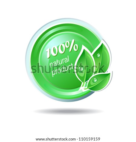Ecology vector icon in green color - stock vector