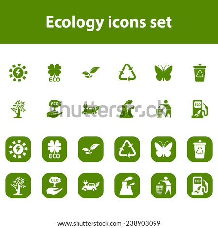 Ecology vector icons set - stock vector