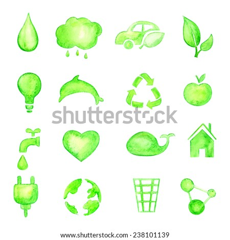 Ecology vector icons. Watercolor. EPS 10 - stock vector
