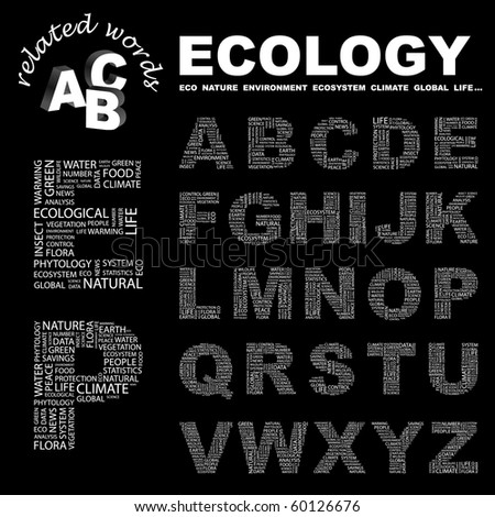 ECOLOGY. Vector letter collection. Illustration with different association terms. - stock vector