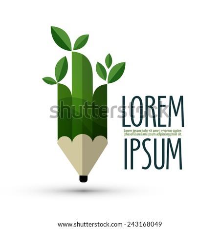 ecology vector logo design template. pencil or nature icon. - stock vector