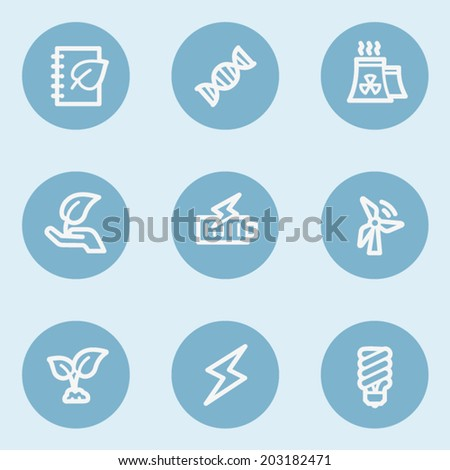 Ecology web icon set 5,  blue buttons - stock vector