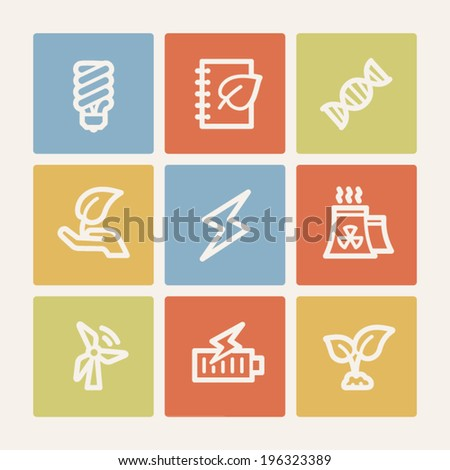 Ecology web icon set 5, color square buttons - stock vector
