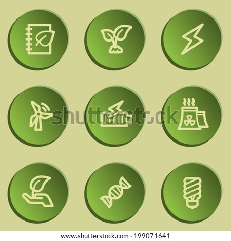 Ecology web icon set 5, green paper stickers set - stock vector