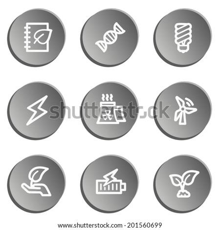 Ecology web icon set 5, grey stickers set - stock vector