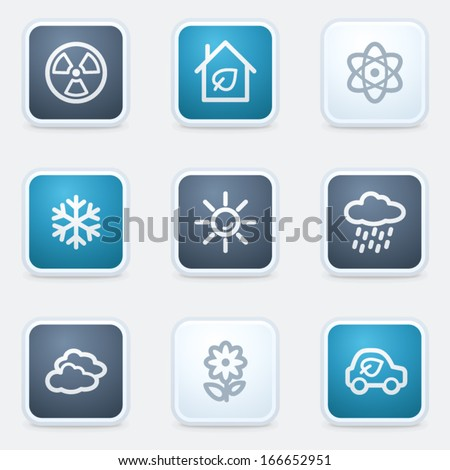 Ecology web icon set 2, square buttons - stock vector