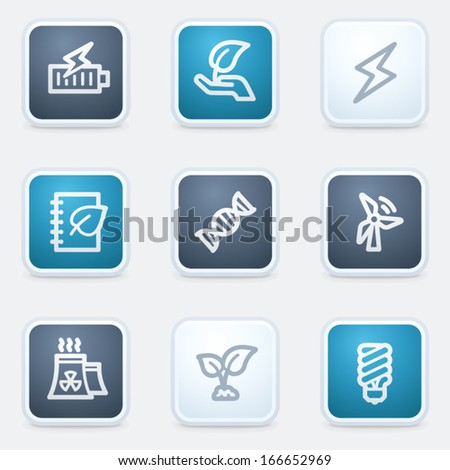 Ecology web icon set 5, square buttons - stock vector