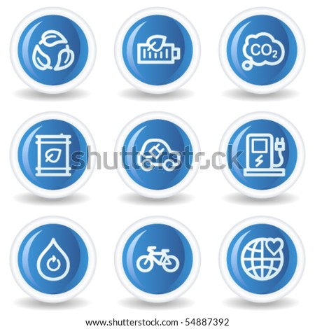Ecology web icons set 4, blue glossy circle buttons
