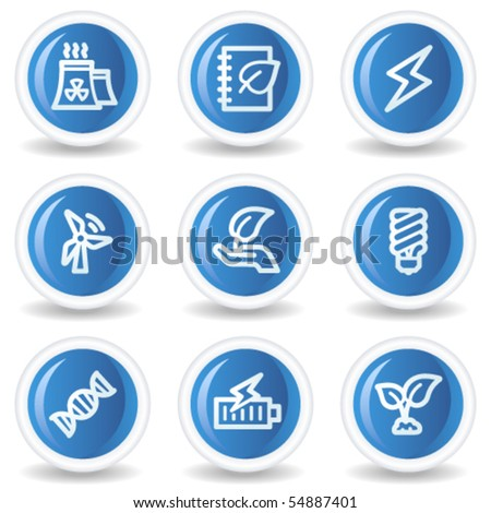 Ecology web icons set 5, blue glossy circle buttons - stock vector