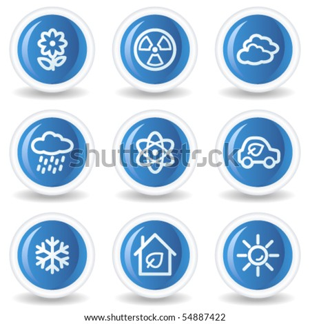 Ecology web icons set 2, blue glossy circle buttons - stock vector