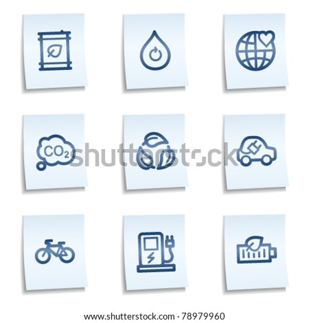 Ecology web icons set 4, blue notes