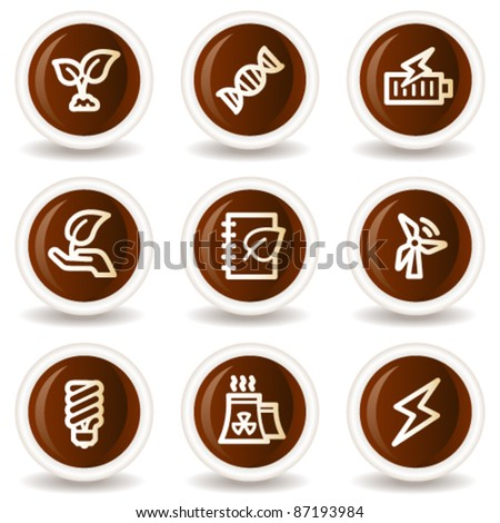 Ecology web icons set 5, chocolate buttons - stock vector