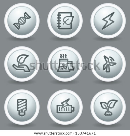 Ecology web icons set 5, circle grey matte buttons - stock vector
