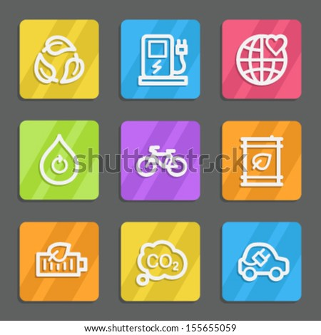 Ecology web icons set 4, color flat buttons