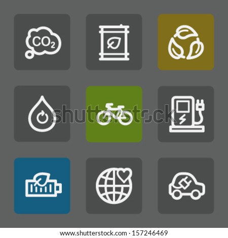 Ecology web icons set 4, flat buttons