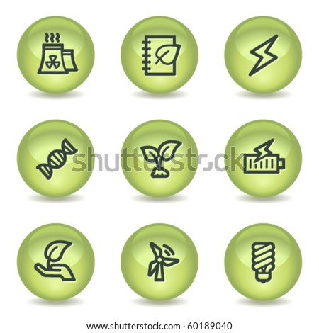 Ecology web icons set 5, green glossy circle buttons - stock vector