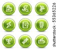 Ecology web icons set 5, green glossy circle buttons series - stock vector