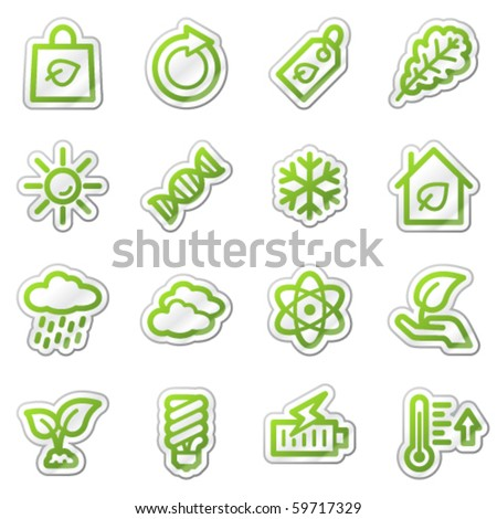Ecology web icons set 3, green sticker series - stock vector