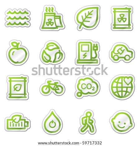 Ecology web icons set 2, green sticker series - stock vector