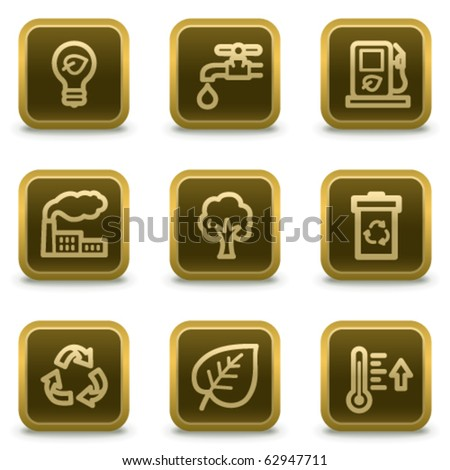 Ecology web icons set 1, square brown buttons