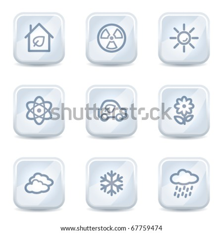 Ecology web icons set 2, white glossy buttons - stock vector