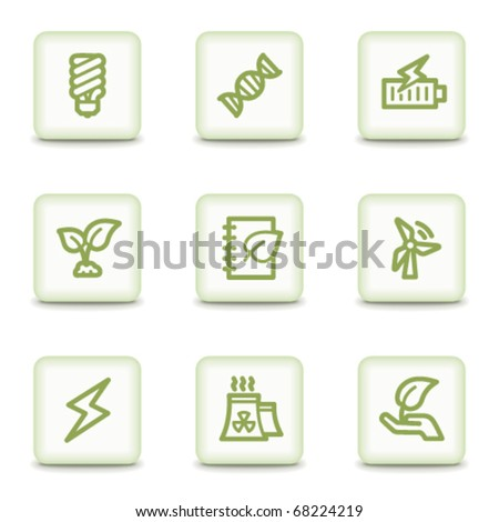 Ecology web icons set 5, white glossy buttons - stock vector