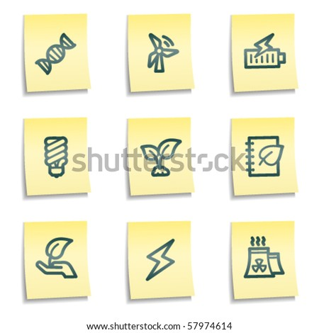 Ecology web icons set 5, yellow notes series - stock vector
