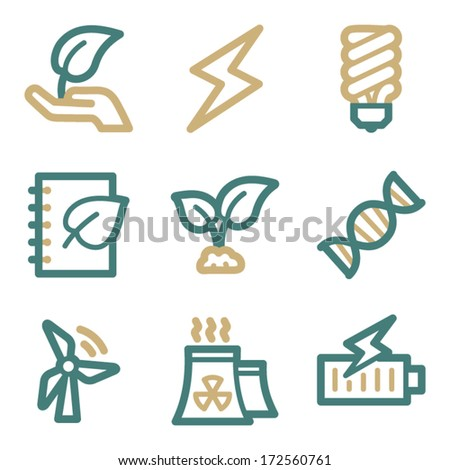 Ecology web icons, two color series - stock vector