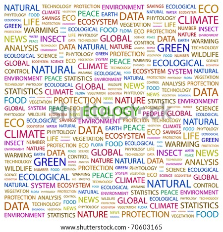 ECOLOGY. Word collage on white background. Illustration with different association terms. - stock vector