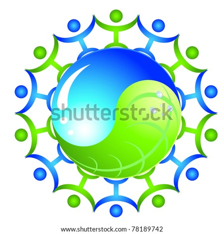 ecology yinyang with people - stock vector