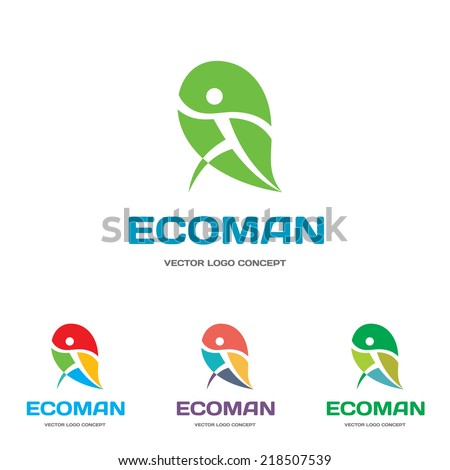 EcoMan - vector logo sign concept illustration. Man figure on leaf. Vector logo template. Ecological and biological product concept sign. Ecology symbol. Human logo. Human character illustration. - stock vector