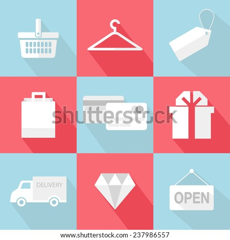 Ecommerce shopping icons vector flat icons stock vector hd royalty ecommerce and shopping icons vector flat icons set with long shadow illustrations and concepts altavistaventures Images