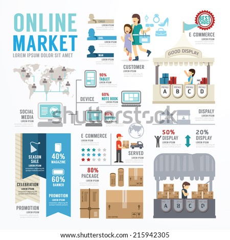 Ecommerce Business Market Online Template Design Infographic . Concept Vector Illustration  - stock vector