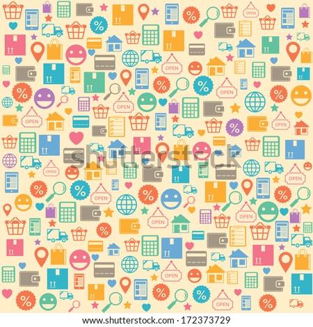 Ecommerce online shopping seamless background pattern vector illustration - stock vector