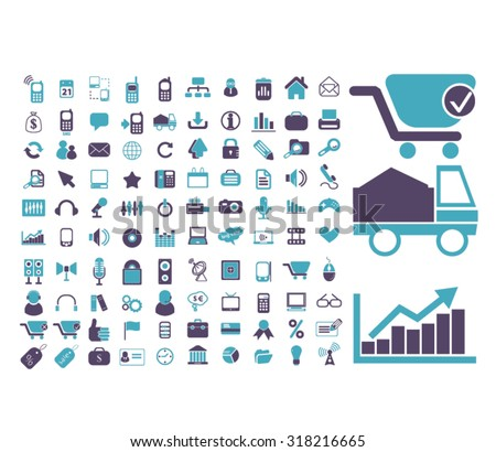 ecommerce, shopping signs, icons, vector - stock vector