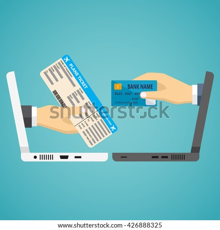 Ecommerce vector flat illustration. Hand with credit card and hand with airplane ticket.