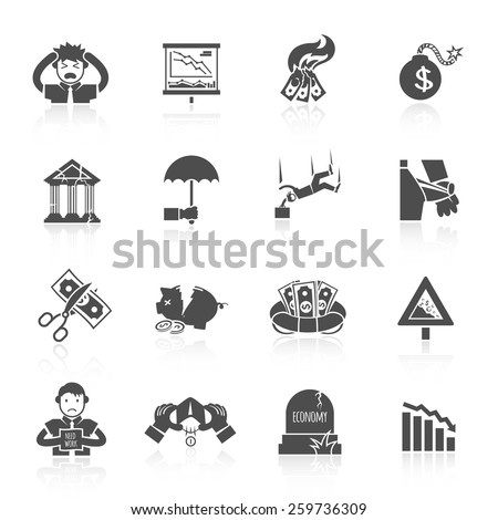 Economic crisis banking and finance depression black icons set isolated vector illustration - stock vector