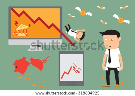 economic crisis elements. financial and investment graph downturn. vector illustration. - stock vector