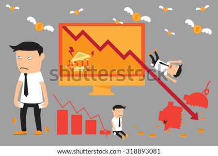 economic crisis elements. financial with investment graph downturn. vector illustration. - stock vector