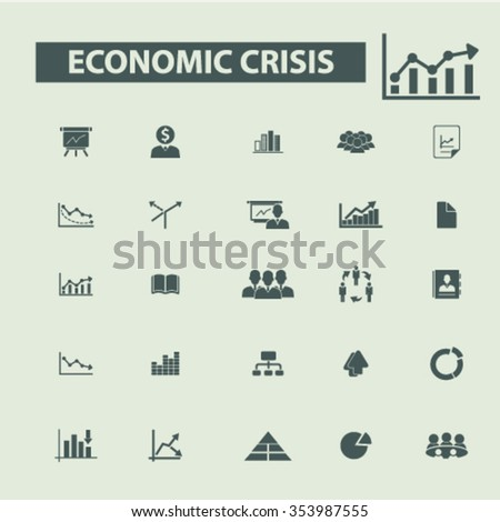 economic crisis, market analytics  icons, signs vector concept set for infographics, mobile, website, application  - stock vector