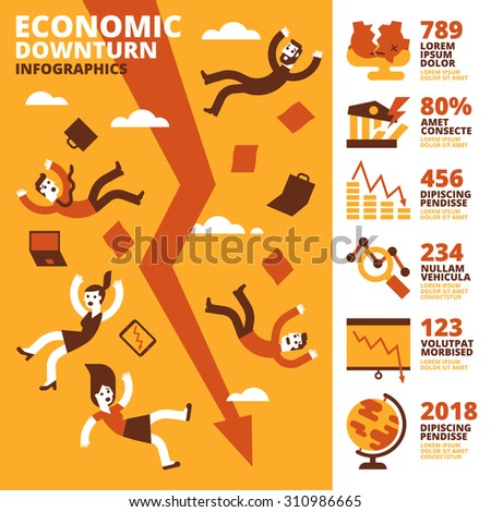 Economic Downturn Infographics - stock vector