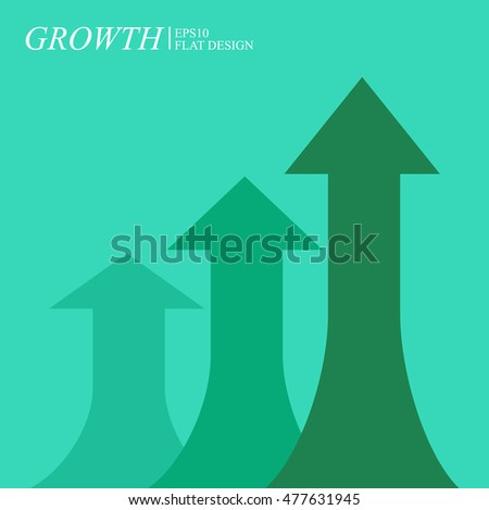 Economic growth chart, arrows on green background