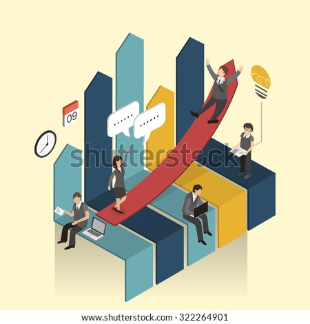 economic growth concept in 3d isometric flat design - stock vector