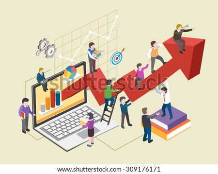 economic growth concept in flat 3d isometric graphic - stock vector