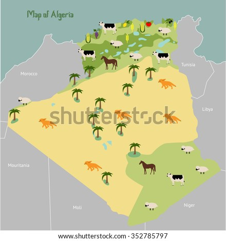 Economic Map Algeria Vector Illustration Stock Vector 352785797